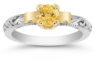 Art Deco Citrine Engagement Ring, 1/2 Carat