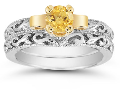 1/2 Carat Art Deco Citrine Bridal Ring Set