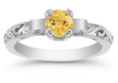 Art Deco Citrine Engagement Ring, 14K White Gold