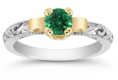 Art Deco Emerald Engagement Ring, 1/2 Carat