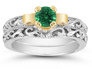 1/2 Carat Art Deco Emerald Bridal Ring Set