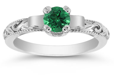 Art Deco Emerald Engagement Ring, 14K White Gold