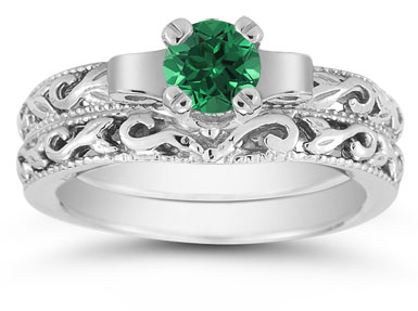1/2 Carat Art Deco Emerald Bridal Ring Set, 14K White Gold