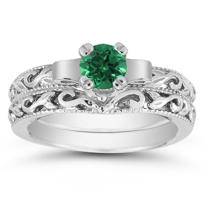 Emerald Bridal Ring Set 14k White Gold View Close Up