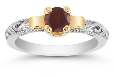 Art Deco Garnet Engagement Ring, 1/2 Carat