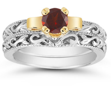 1/2 Carat Art Deco Garnet Bridal Ring Set
