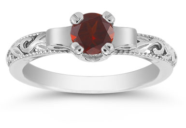 Art Deco Garnet Engagement Ring, 14K White Gold
