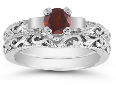 1/2 Carat Art Deco Garnet Bridal Ring Set, 14K White Gold