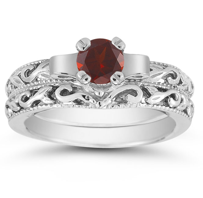 12 Carat Art Deco Garnet Bridal Ring Set 14K White Gold