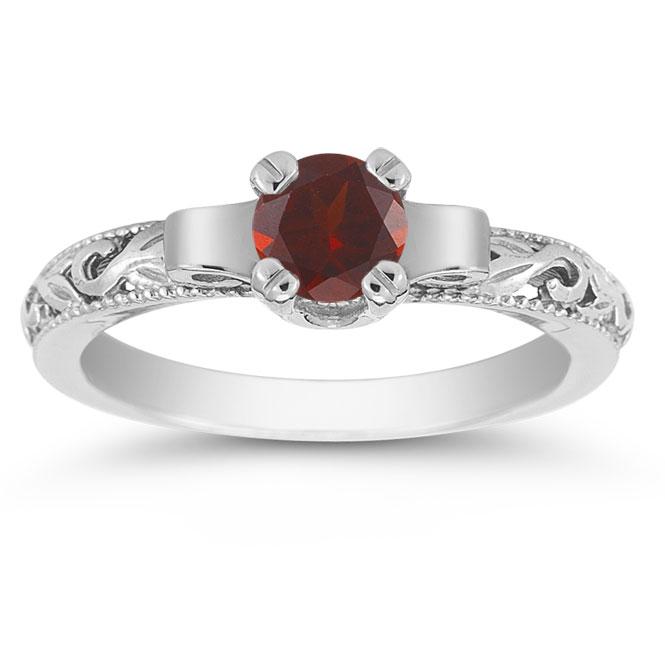 art deco garnet engagement ring 14k white gold view close up - Garnet Wedding Rings