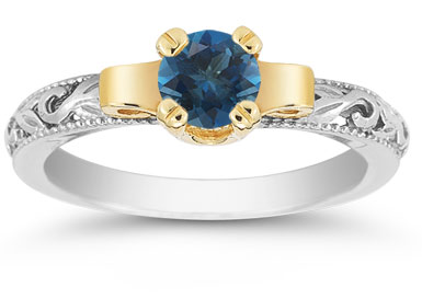 Art Deco London Blue Topaz Engagement Ring, 1/2 Carat