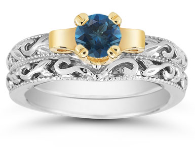 1/2 Carat Art Deco London Blue Topaz Bridal Ring Set
