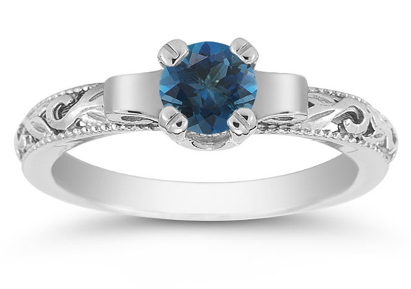 Art Deco London Blue Topaz Engagement Ring, 14K White Gold