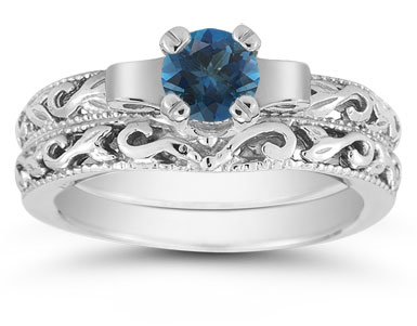 1/2 Carat Art Deco London Blue Topaz Bridal Ring Set, 14K White Gold