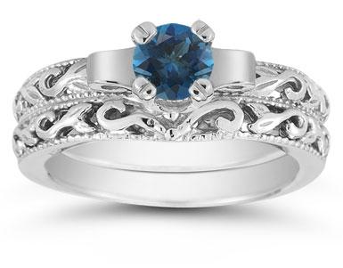 1/2 Carat Art Deco London Blue Topaz Bridal Ring Set, 14K White Gold