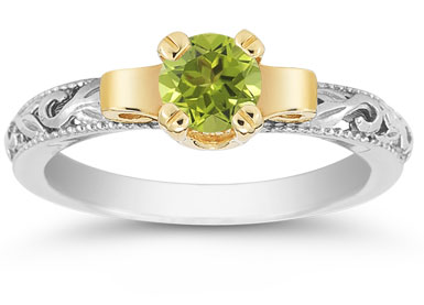 Art Deco Peridot Engagement Ring, 1/2 Carat