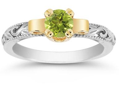Art Deco Peridot Engagement Ring, 1/2 Carat