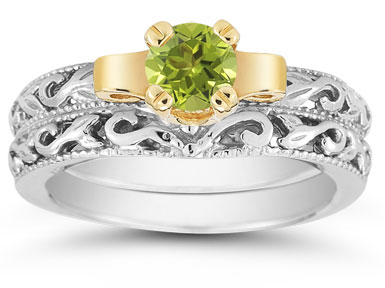 1/2 Carat Art Deco Peridot Bridal Ring Set
