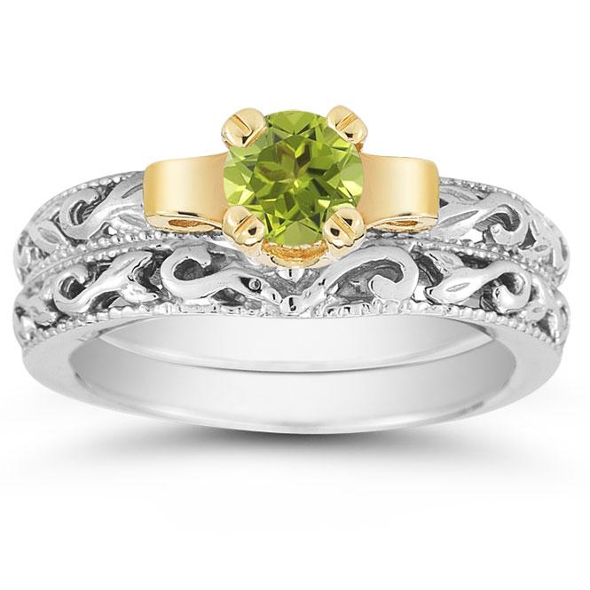 1 2 Carat Art Deco Peridot Bridal Ring Set