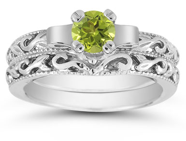 1/2 Carat Art Deco Peridot Bridal Ring Set, 14K White Gold