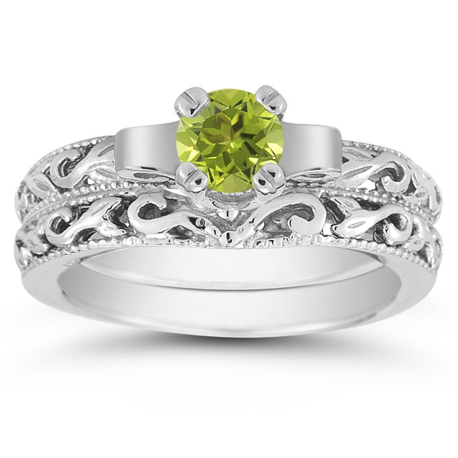 view close up - Peridot Wedding Rings