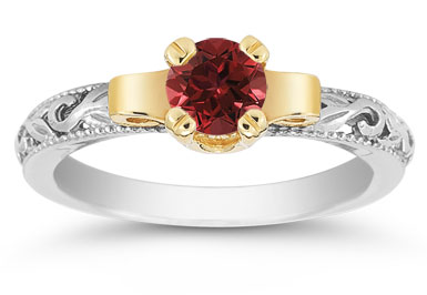 Art Deco Ruby Engagement Ring, 1/2 Carat
