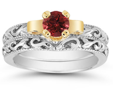 1/2 Carat Art Deco Ruby Bridal Ring Set