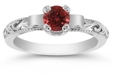 Art Deco Ruby Engagement Ring, 14K White Gold