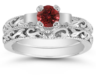 1/2 Carat Art Deco Ruby Bridal Ring Set in Sterling Silver