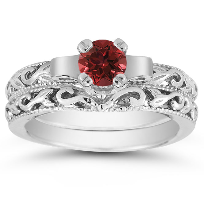 view close up - Ruby Wedding Ring Sets