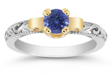 Art Deco Sapphire Engagement Ring, 1/2 Carat