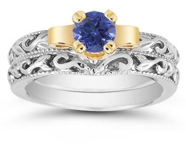 1/2 Carat Art Deco Sapphire Bridal Ring Set