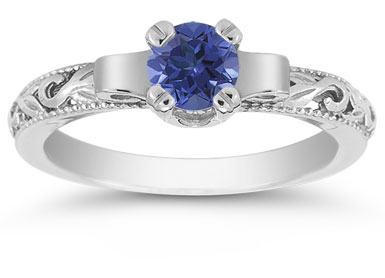 Art Deco Sapphire Engagement Ring, 14K White Gold