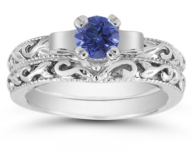 1/2 Carat Art Deco Sapphire Bridal Ring Set, 14K White Gold