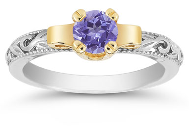 Art Deco Tanzanite Engagement Ring, 1/2 Carat