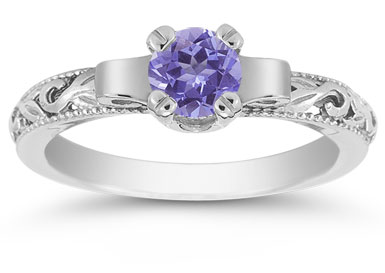 Art Deco Tanzanite Engagement Ring, 14K White Gold