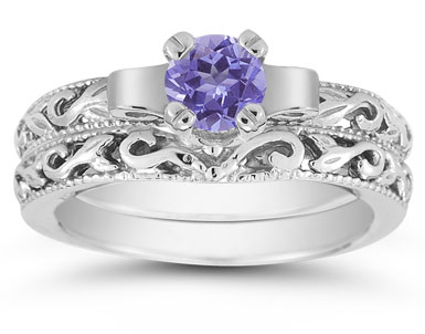 1/2 Carat Art Deco Tanzanite Bridal Ring Set, 14K White Gold
