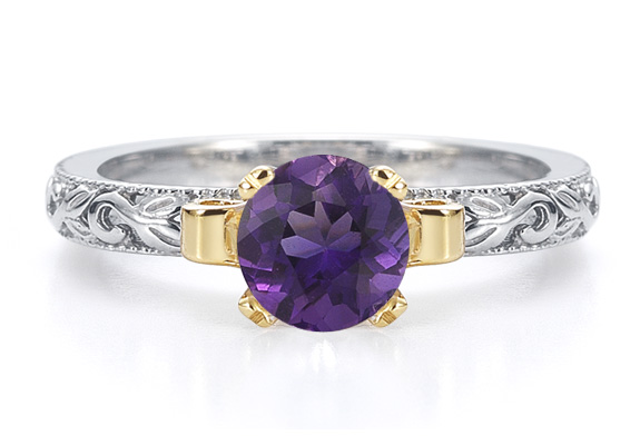 1 Carat Art Deco Amethyst Engagement Ring