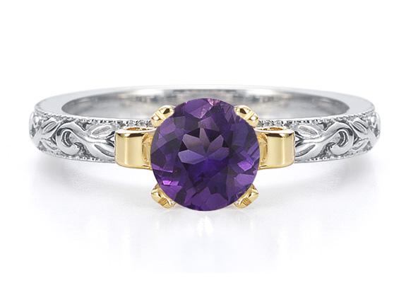 1 Carat Art Deco Amethyst Engagement Ring