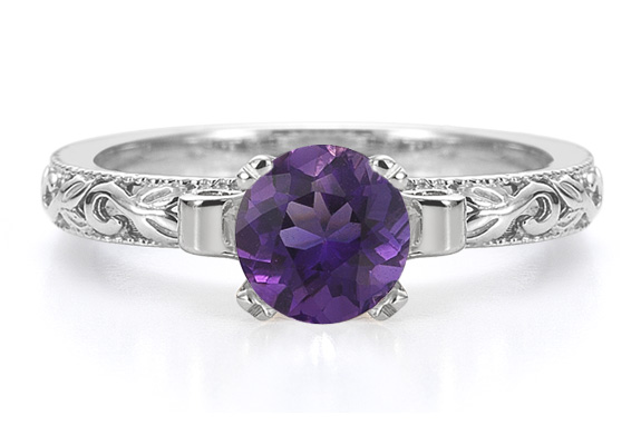 1 Carat Art Deco Amethyst Engagement Ring, 14K White Gold