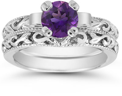 Amethyst 1 Carat Art Deco Bridal Set in Sterling Silver