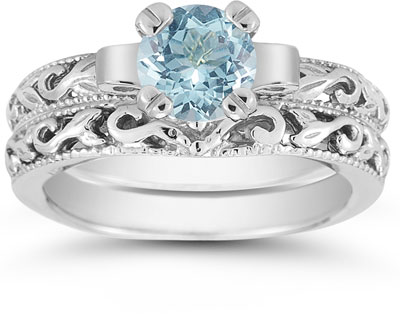 Aquamarine 1 Carat Art Deco Bridal Set in Sterling Silver