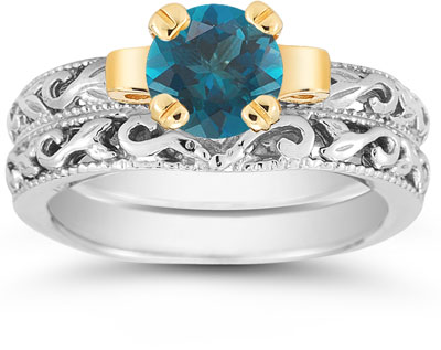 1 Carat Art Deco Blue Diamond Bridal Ring Set