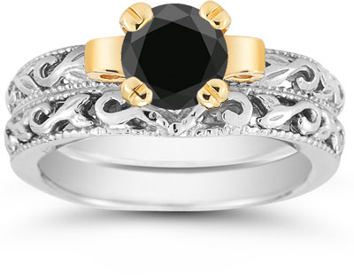 1 Carat Art Deco Black Diamond Bridal Ring Set