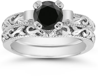 black diamond 1 carat art deco bridal set in sterling silver - Black Diamond Wedding Ring Set