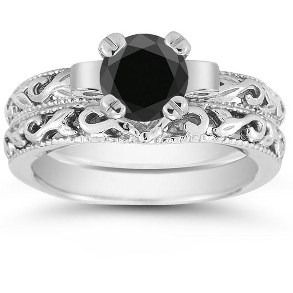 Black Diamond 1 Carat Art Deco Bridal Set In Sterling Silver