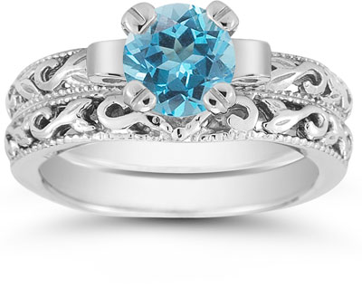 Blue Topaz 1 Carat Art Deco Bridal Set in Sterling Silver
