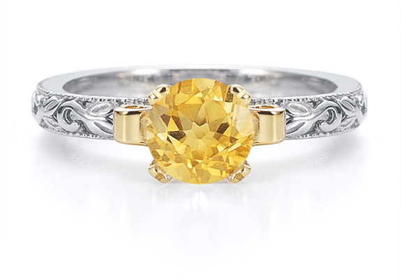 1 Carat Art Deco Citrine Engagement Ring