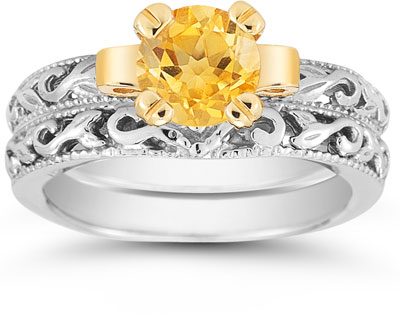 1 Carat Art Deco Citrine Bridal Ring Set