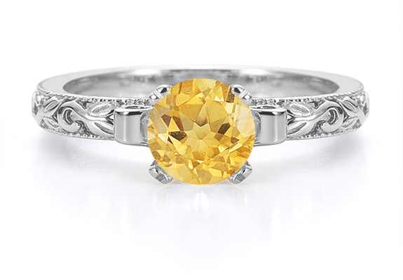 1 Carat Art Deco Citrine Engagement Ring, 14K White Gold